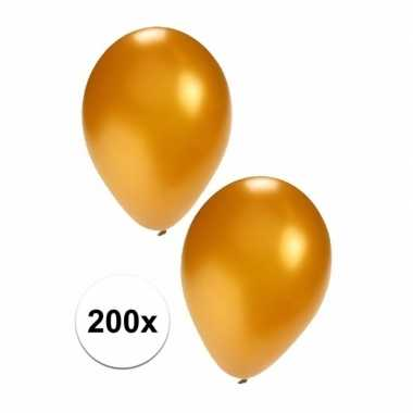 200 carnavals ballonnen in goudkleur