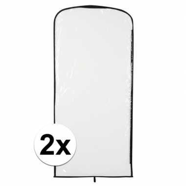 2x carnavalspak opberghoes transparant 95 x 42 cm