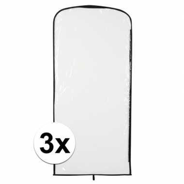 3x carnavalspak opberghoes transparant 95 x 42 cm