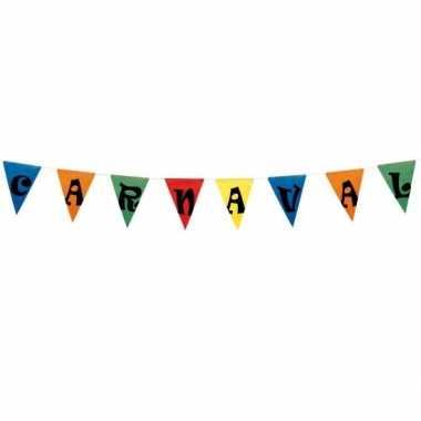 5x carnaval vlaggenlijn plastic 15 meter