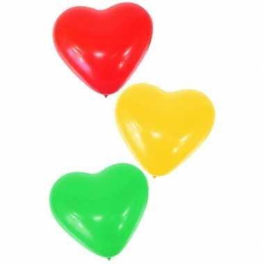 6 x carnaval hartjes ballonnen