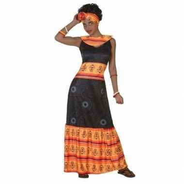 Afrikaanse jurk verkleed carnavalspak zwart/oranje voor dames