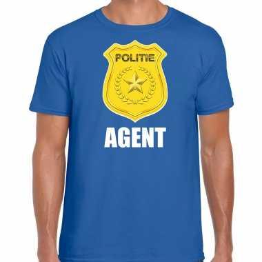 Agent politie embleem carnaval t shirt blauw voor heren