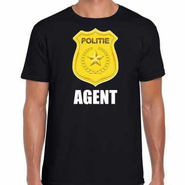 Agent politie embleem carnaval t shirt zwart voor heren