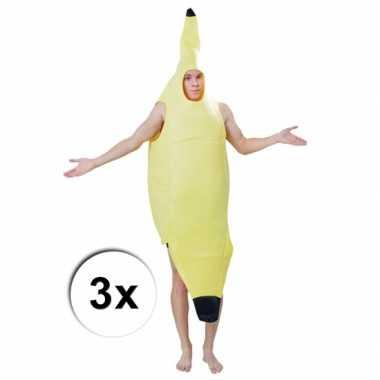 Bananen carnavalspaks 3 x voor volwassenen
