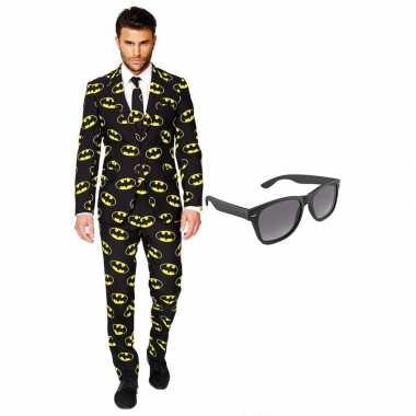 Batman heren carnavalspak maat 56 xxxl met gratis zonnebril