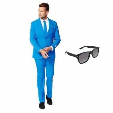 Blauw heren carnavalspak maat 52 (xl) met gratis zonnebril