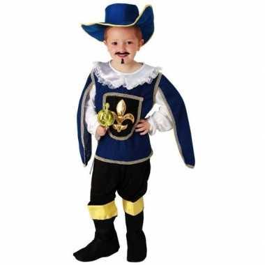 Blauw musketiers carnavalspak voor jongens