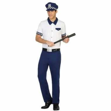 Blauw/wit politie verkleed pak/carnavalspak voor heren