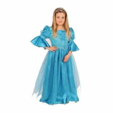Blauwe prinses carnavalspak voor meisjes