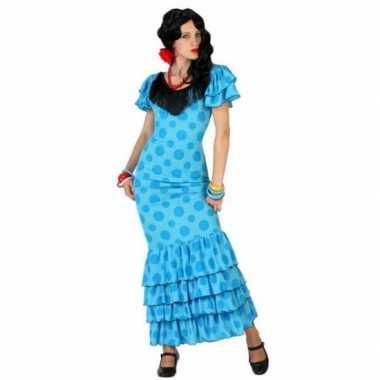 Blauwe spaanse carnavalspak jurk