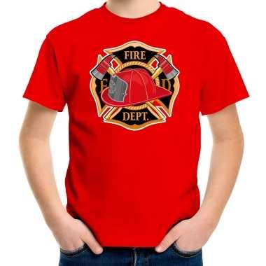 Brandweer logo t shirt / carnavalspak rood voor kinderen
