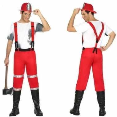 Brandweerman joe carnavalspak met bretels voor heren