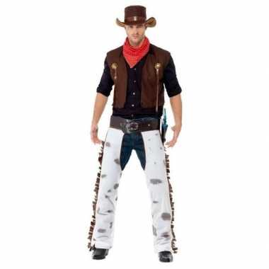 Bruin cowboy carnavalspak voor heren