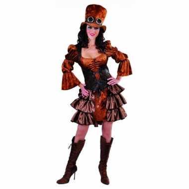 Bruine dames steampunk carnavalspak