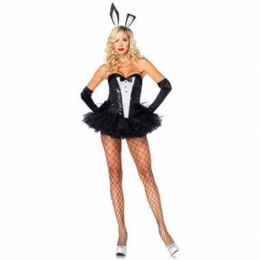 Bunny carnavalspak zwart wit voor dames