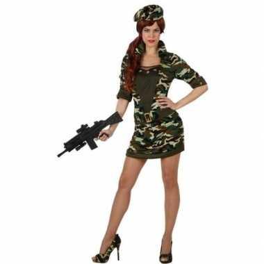 Camouflage soldaat verkleed carnavalspak/jurk voor dames