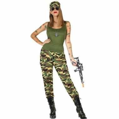 Camouflage soldaat verkleed pak/carnavalspak voor dames
