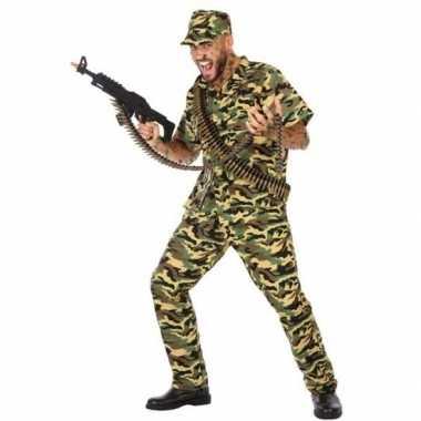 Camouflage soldaat verkleed pak/carnavalspak voor heren