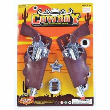 Carnaval accessoires pistolen met sheriff badge
