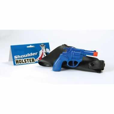 Carnaval accessoires pistool blauw 22 cm