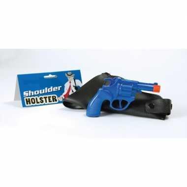 Carnaval accessoires politie pistool blauw 22 cm