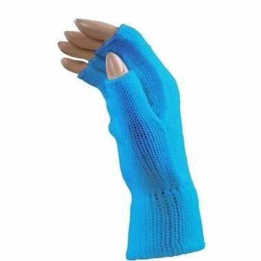 Carnaval blauwe polsjes handschoenen vingerloos voor volwassenen