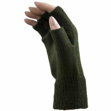 Carnaval donker groene polsjes handschoenen vingerloos voor volwassenen