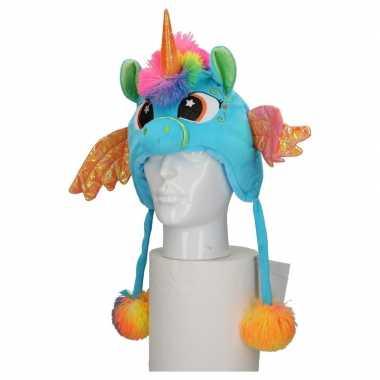 Carnaval eenhoorn muts kids blauw