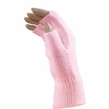 Carnaval lichtroze polsjes handschoenen vingerloos voor volwassenen