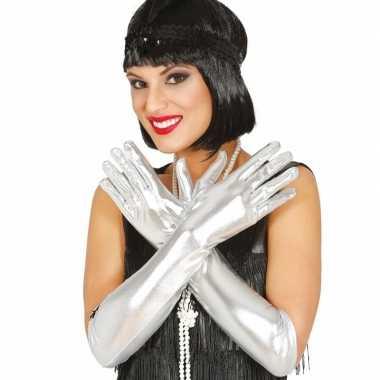 Carnaval metallic zilveren gala handschoenen
