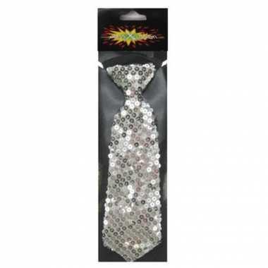 Carnaval verkleed stropdas pailletten zilver 19 cm