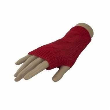 Carnaval vingerloze handschoenen rood kabelpatroon volwassenen
