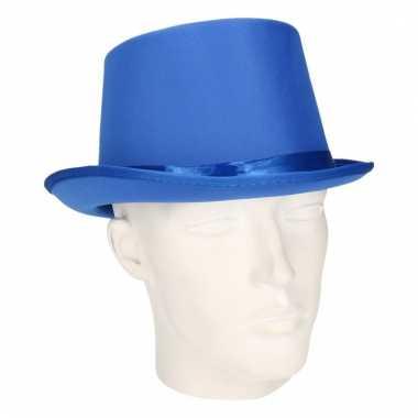 Carnavals luxe hoge hoed blauw