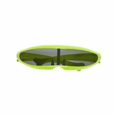 Carnavalsaccesoire groene stoere bril