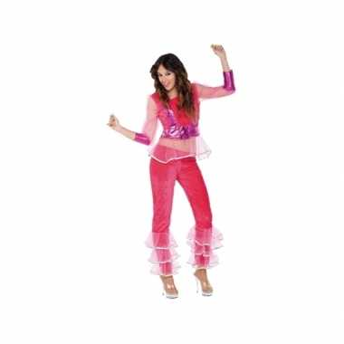 Carnavalspak disco roze voor dames