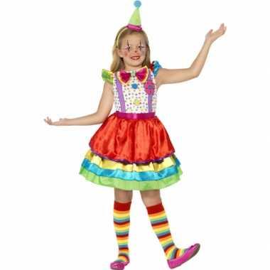 Carnavalspak gekleurd clown jurkje