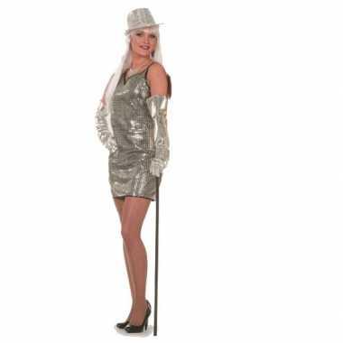 Carnavalspak glitter jurkjes zilver