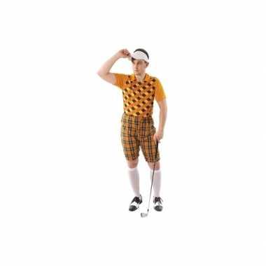 Carnavalspak golfer oranje voor heren