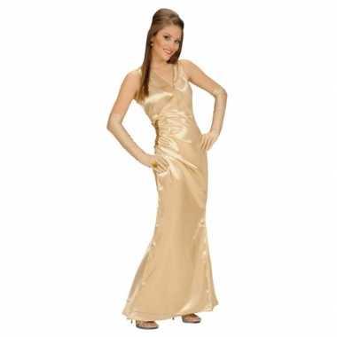 Carnavalspak gouden jurk voor dames