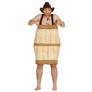 Carnavalspak houten biervat voor mannen