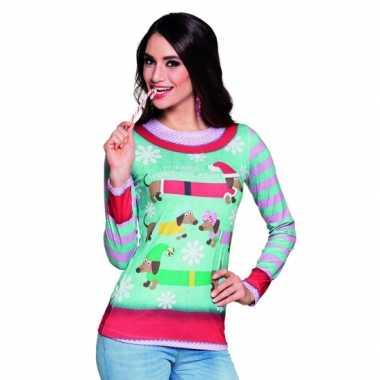 Carnavalspak kerstprint dames shirt 10075237