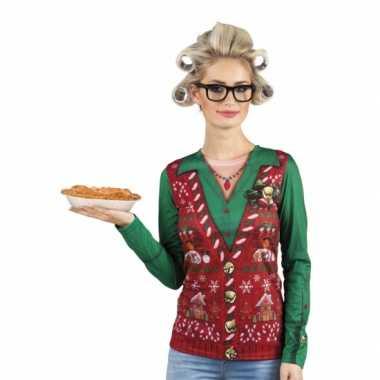 Carnavalspak kerstprint dames shirt