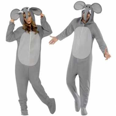 Carnavalspak olifant all-in-one voor volwassenen