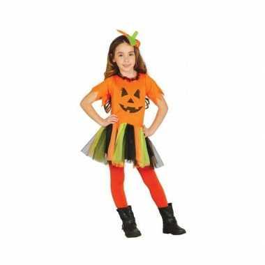 Carnavalspak oranje pompoen jurkje voor meisjes
