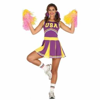 Carnavalspak paarse cheerleader voor dames