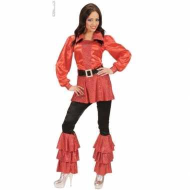 Carnavalspak rode dames shirts met pailletten