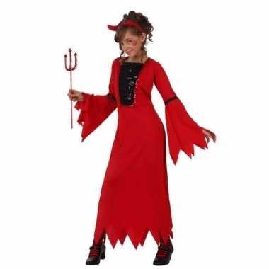 Carnavalspak rode duiveljurk voor meiden