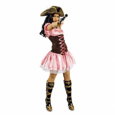 Carnavalspak roze musketiersjurkje