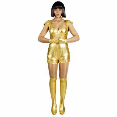 Carnavalspak spacegirl goud voor dames